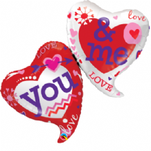 You & Me Two Hearts Large Foil Balloon 1pc